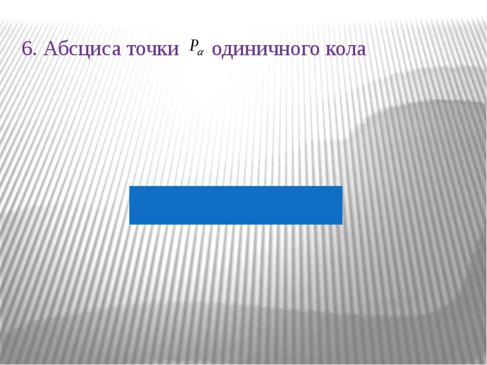6. Абсциса точки одиничного кола
