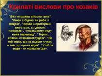 """Крилаті вислови про козаків """"Без гетьмана військо гине"""", """"Козак з бідою, як р..."""