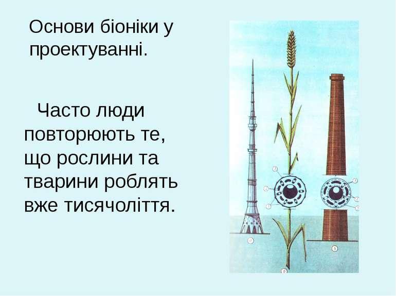 Основи біоніки у проектуванні. Часто люди повторюють те, що рослини та тварин...