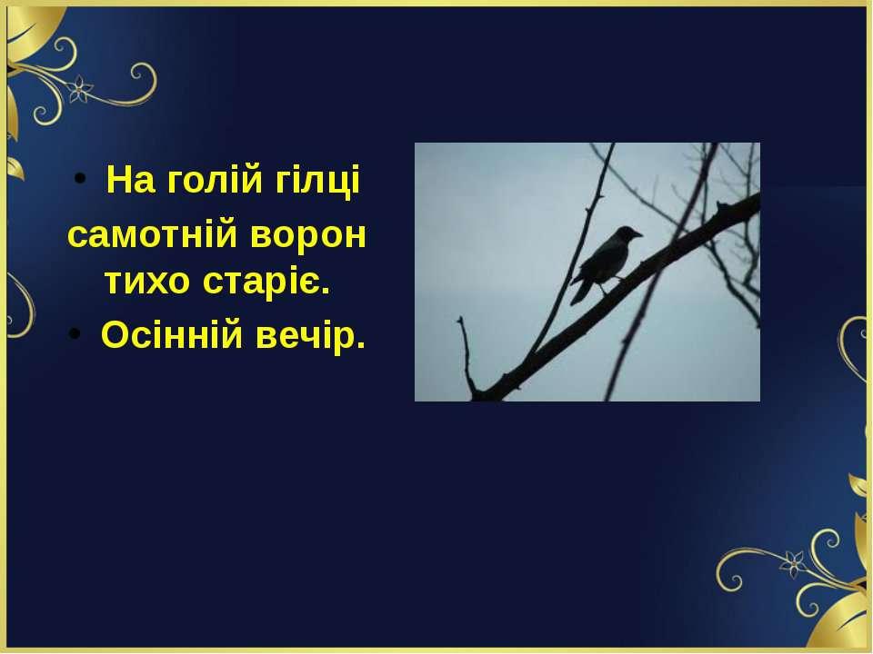 На голій гілці самотній ворон тихо старіє. Осінній вечір.
