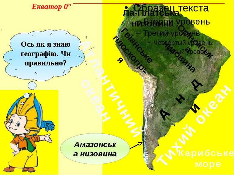 Ось як я знаю географію. Чи правильно? А н д и Амазонська низовина Гвіанське ...