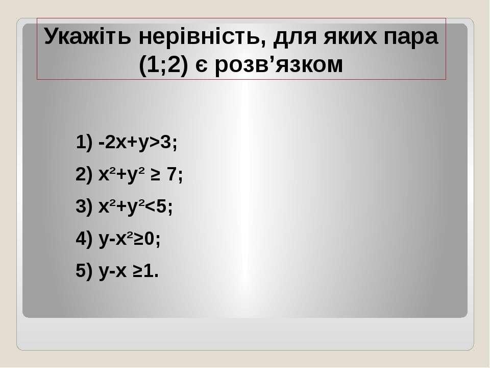Укажіть нерівність, для яких пара (1;2) є розв'язком 1) -2x+y>3; 2) x²+y² ≥ 7...