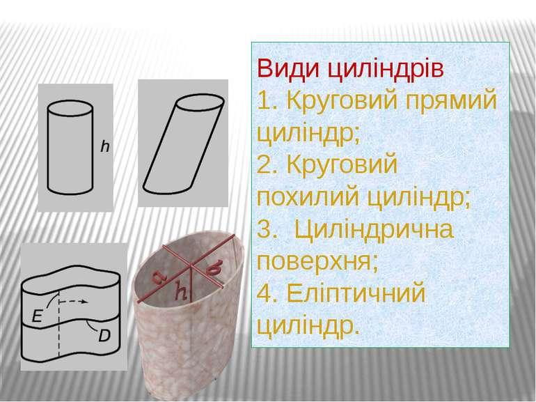 Види циліндрів 1. Круговий прямий циліндр; 2. Круговий похилий циліндр; 3. Ци...