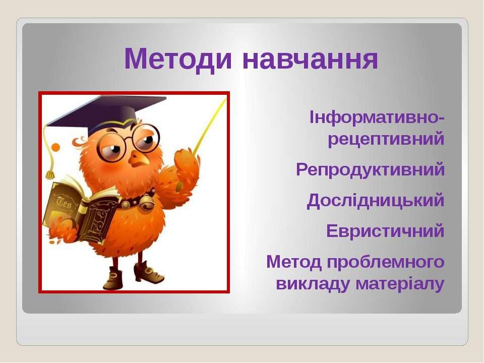 Методи навчання Інформативно-рецептивний Репродуктивний Дослідницький Евристи...