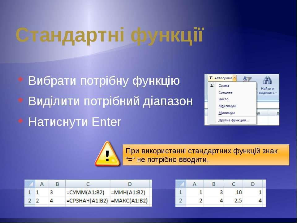 Стандартні функції Вибрати потрібну функцію Виділити потрібний діапазон Натис...