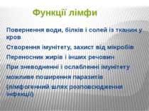 Функції лімфи Повернення води, білків і солей із тканин у кров Створення імун...