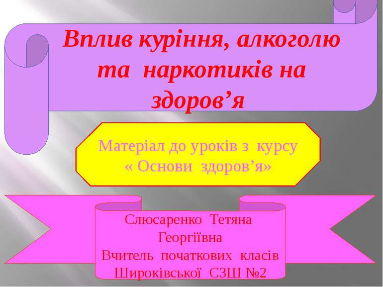 Вплив куріння, алкоголю та наркотиків на здоров'я Слюсаренко Тетяна Георгіївн...