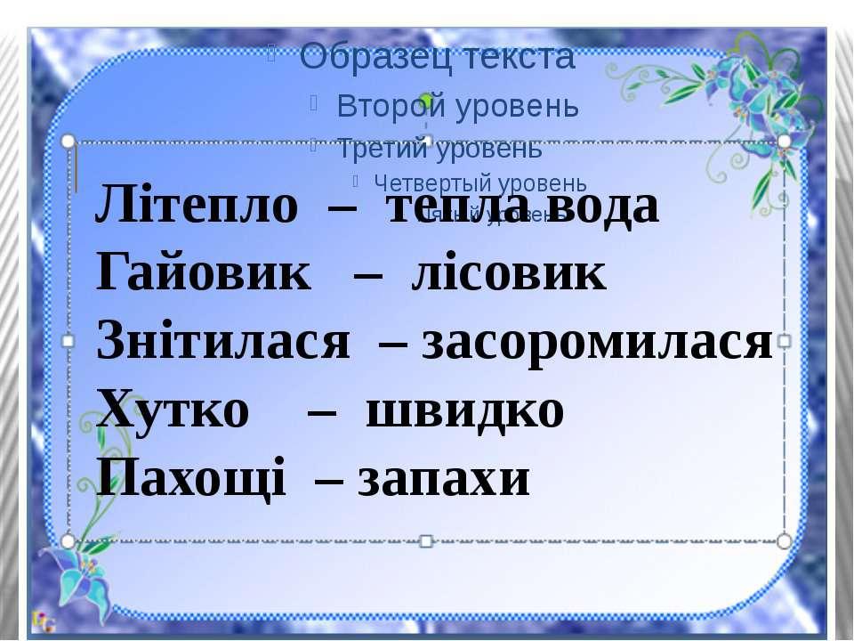 Літепло – тепла вода Гайовик – лісовик Знітилася – засоромилася Хутко – швидк...