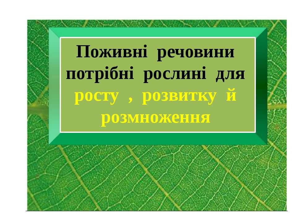 Поживні речовини потрібні рослині для росту , розвитку й розмноження