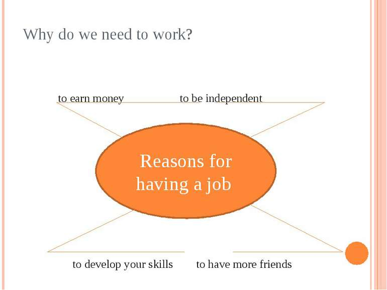 Why do we need to work? to earn money to be independent to develop your skill...