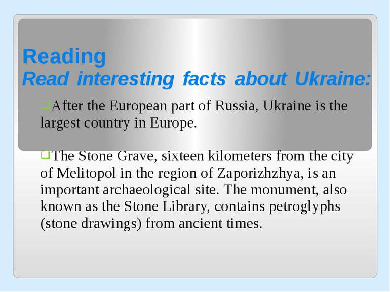 Reading Read interesting facts about Ukraine: After the European part of Russ...