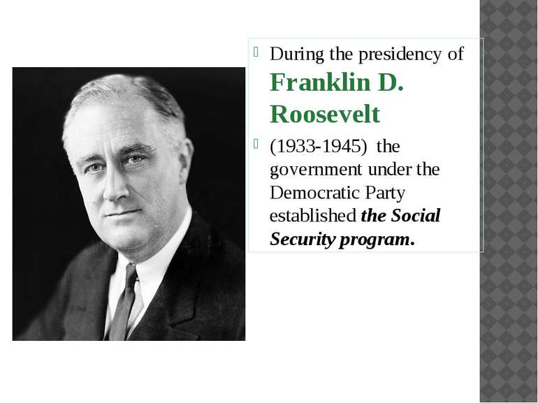 During the presidency of Franklin D. Roosevelt (1933-1945) the government und...