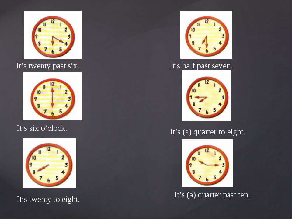 It's twenty past six. It's six o'clock. It's twenty to eight. It's (a) quarte...