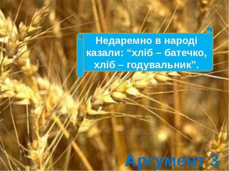 """Недаремно в народі казали: """"хліб – батечко, хліб – годувальник"""". Аргумент 3"""