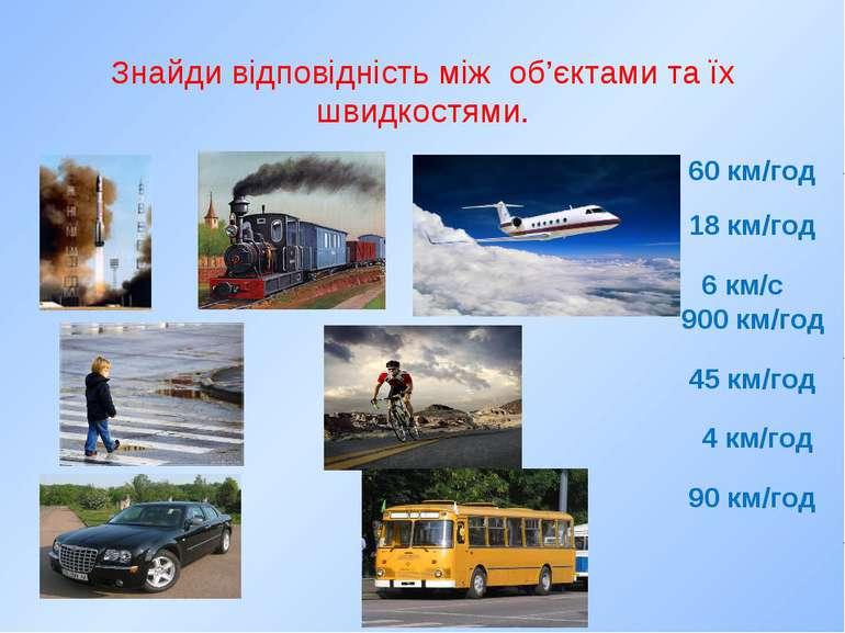 Знайди відповідність між об'єктами та їх швидкостями. 60 км/год 18 км/год 4 к...
