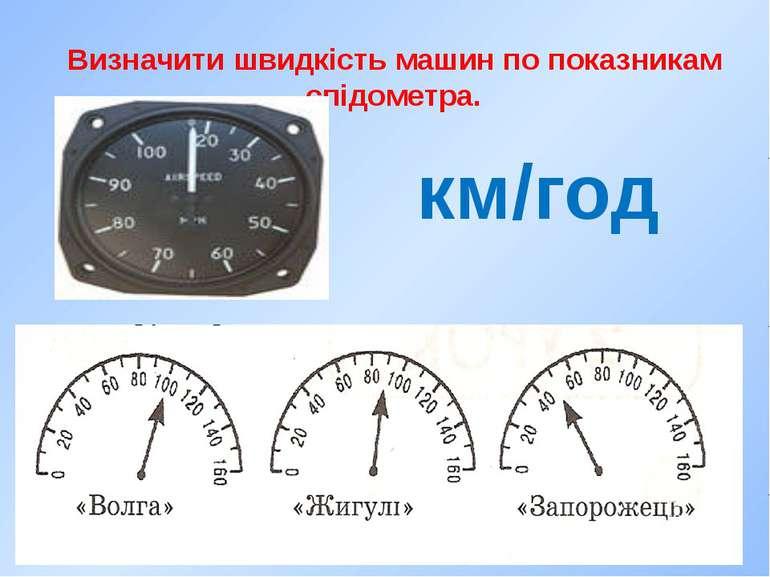 Визначити швидкість машин по показникам спідометра. км/год