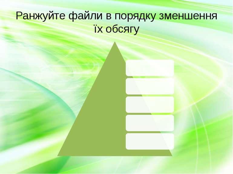 Ранжуйте файли в порядку зменшення їх обсягу