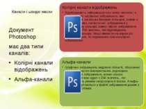 Канали і швидкі маски Документ Photoshop має два типи каналів: Колірні канали...