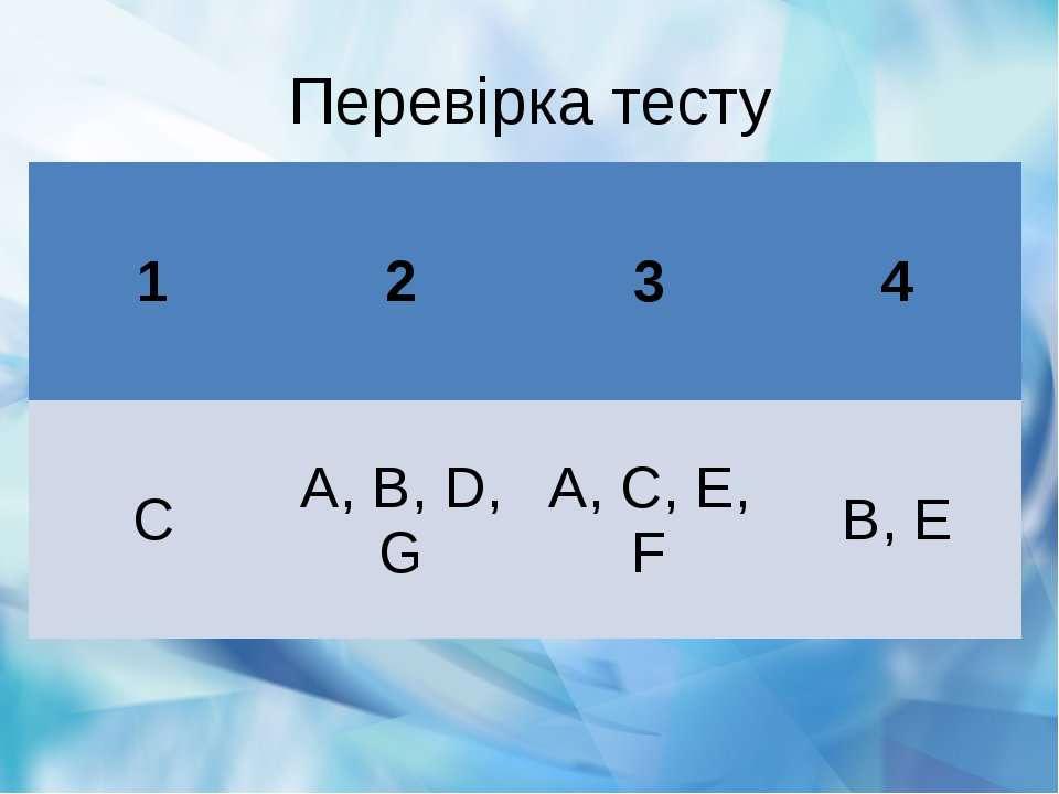 Перевірка тесту 1 2 3 4 C A, B, D, G A, C, E, F B, E