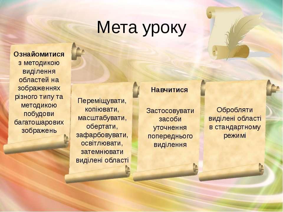 Мета уроку Навчитися Ознайомитися з методикою виділення областей на зображенн...