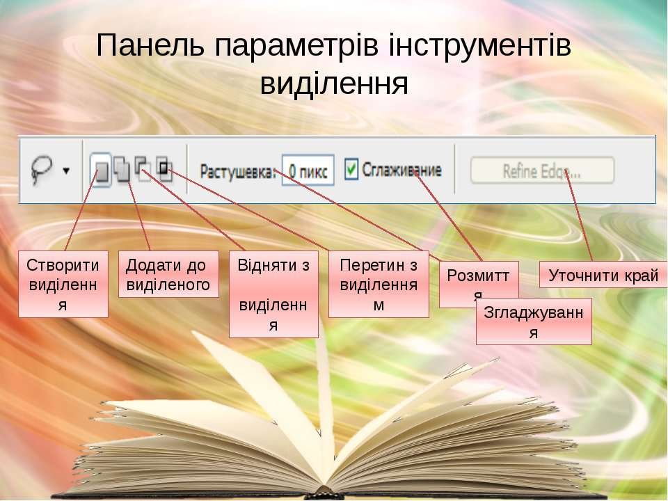 Панель параметрів інструментів виділення Перетин з виділенням Додати до виділ...