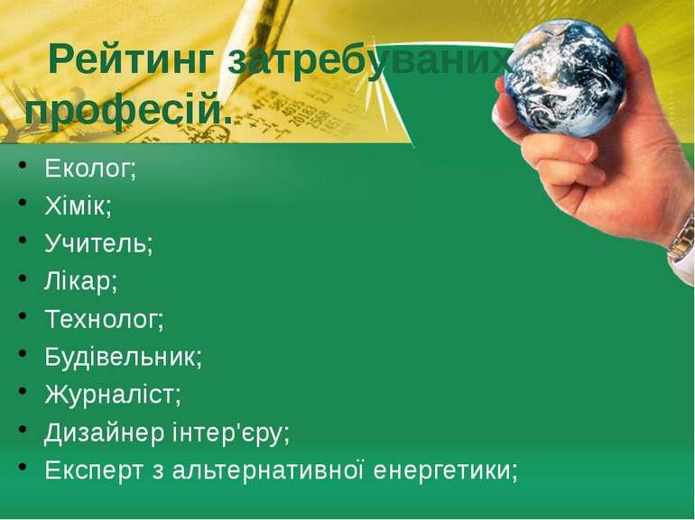 Рейтинг затребуваних професій. Еколог; Хімік; Учитель; Лікар; Технолог; Будів...