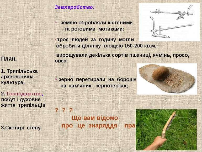План. 1. Трипільська археологічна культура. 2. Господарство, побут і духовне ...