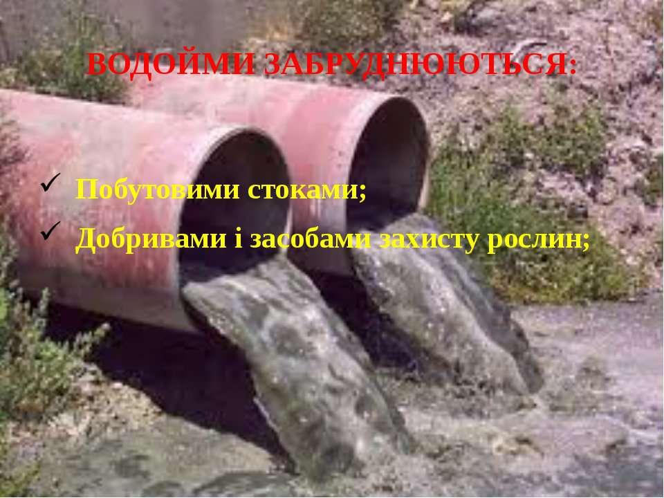 ВОДОЙМИ ЗАБРУДНЮЮТЬСЯ: Побутовими стоками; Добривами і засобами захисту рослин;
