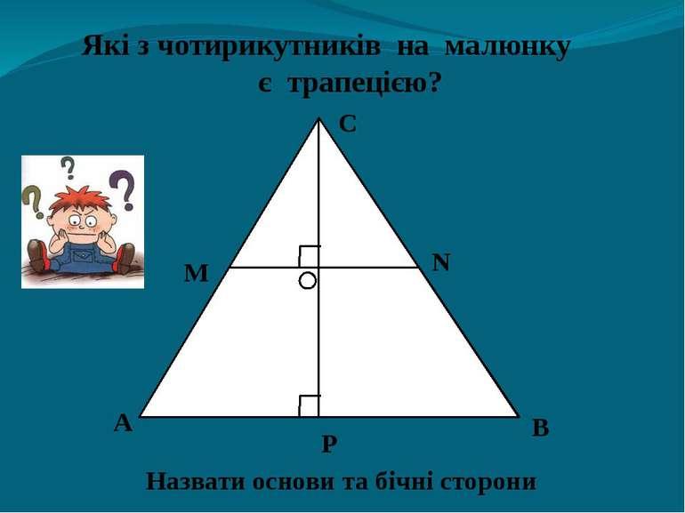 Які з чотирикутників на малюнку є трапецією? А В С М N Назвати основи та бічн...