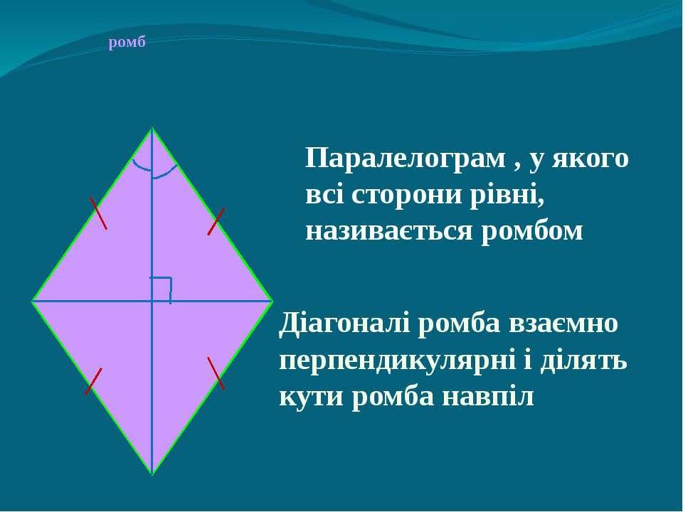 ромб Паралелограм , у якого всі сторони рівні, називається ромбом Діагоналі р...
