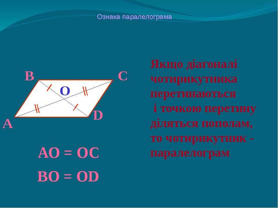 Ознака паралелограма Якщо діагоналі чотирикутника перетинаються і точкою пере...