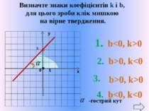 b -тупий кут 1. b0 2. b>0, k>0 b