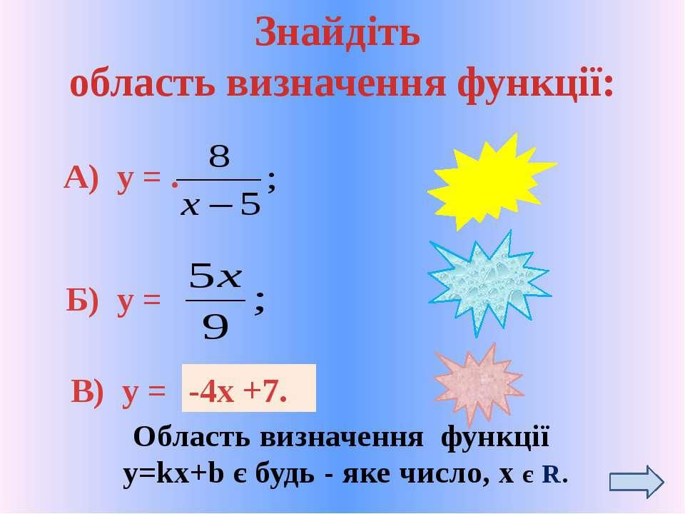 Знайдіть область визначення функції: А) у = . Б) у = В) у = х ≠5 R R Область ...