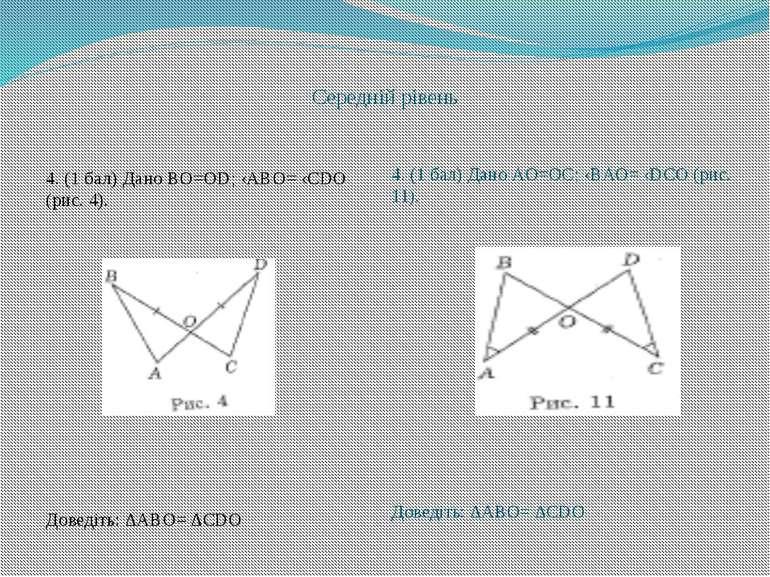 Середній рівень 4. (1 бал) Дано BO=OD; ‹ABO= ‹CDO (рис. 4). Доведіть: ∆ABO= ∆...