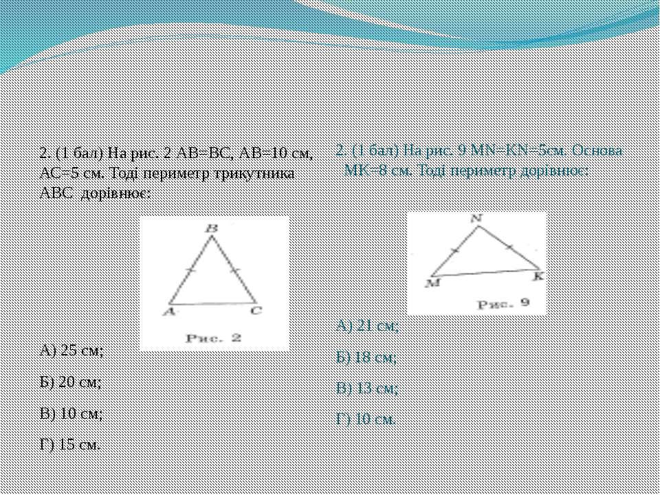 2. (1 бал) На рис. 2 АВ=ВС, АВ=10 см, АС=5 см. Тоді периметр трикутника АВС д...