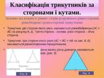 Класифікація трикутників за сторонами і кутами. Залежно від кількості рівних ...