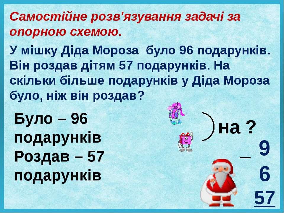Самостійне розв'язування задачі за опорною схемою. У мішку Діда Мороза було 9...