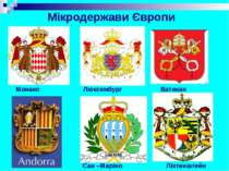 Сан –Маріно Ліхтенштейн Монако Люксембург Ватикан Мікродержави Європи