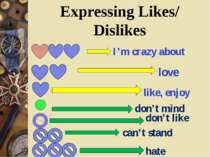 Expressing Likes/ Dislikes I'm crazy about love like, enjoy don't mind don't ...