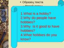 1.What is a hobby? 2.Why do people have hobbies? 3.Why is it good to have hob...