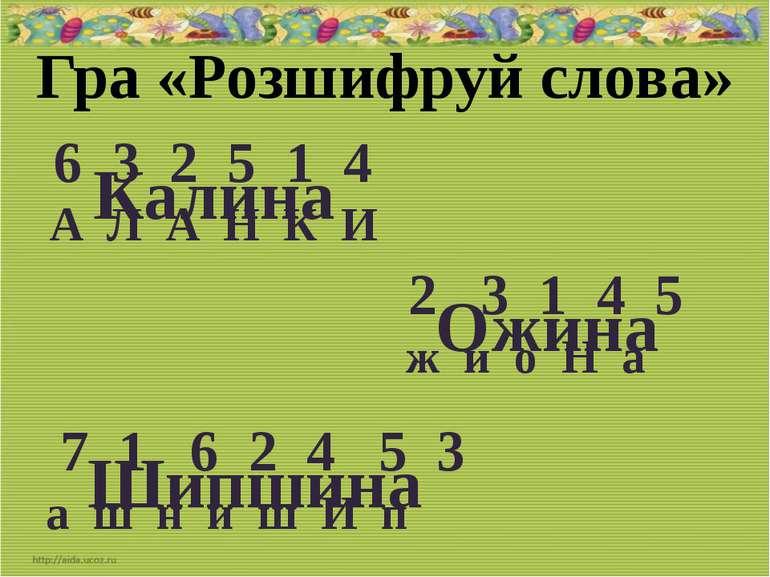 Гра «Розшифруй слова» 6 3 2 5 1 4 А Л А Н К И Калина 2 3 1 4 5 ж и о Н а Ожин...