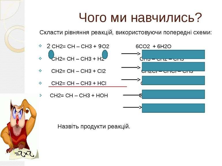 Чого ми навчились? Скласти рівняння реакцій, використовуючи попередні схеми: ...