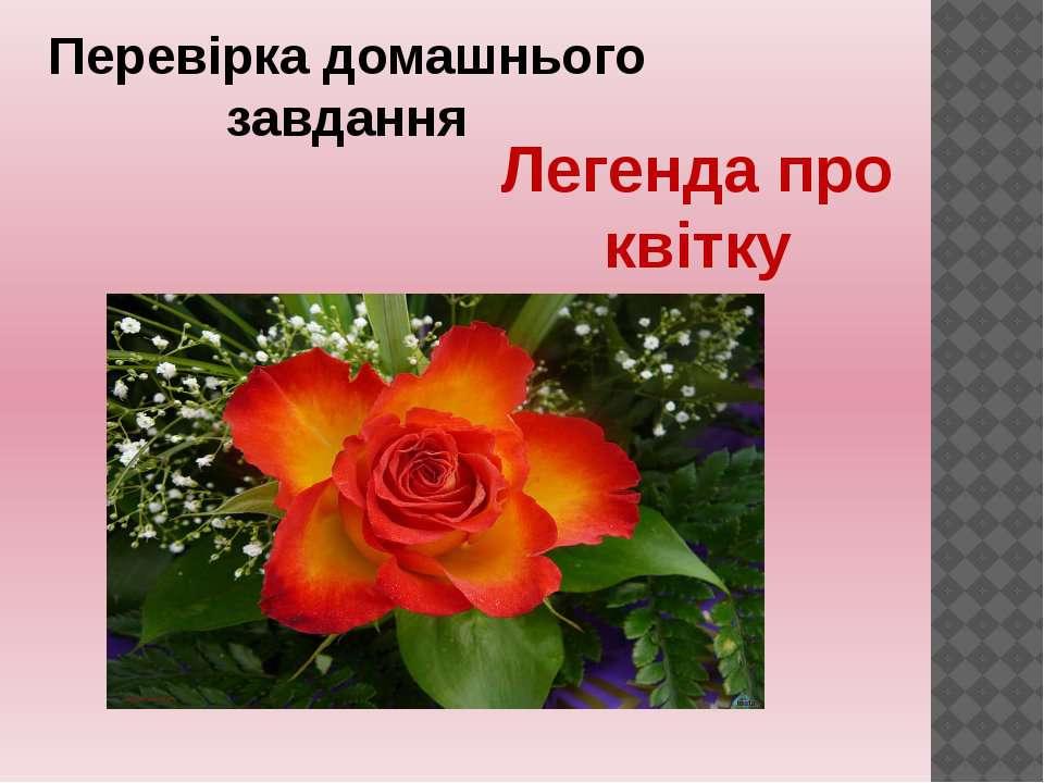 Перевірка домашнього завдання Легенда про квітку