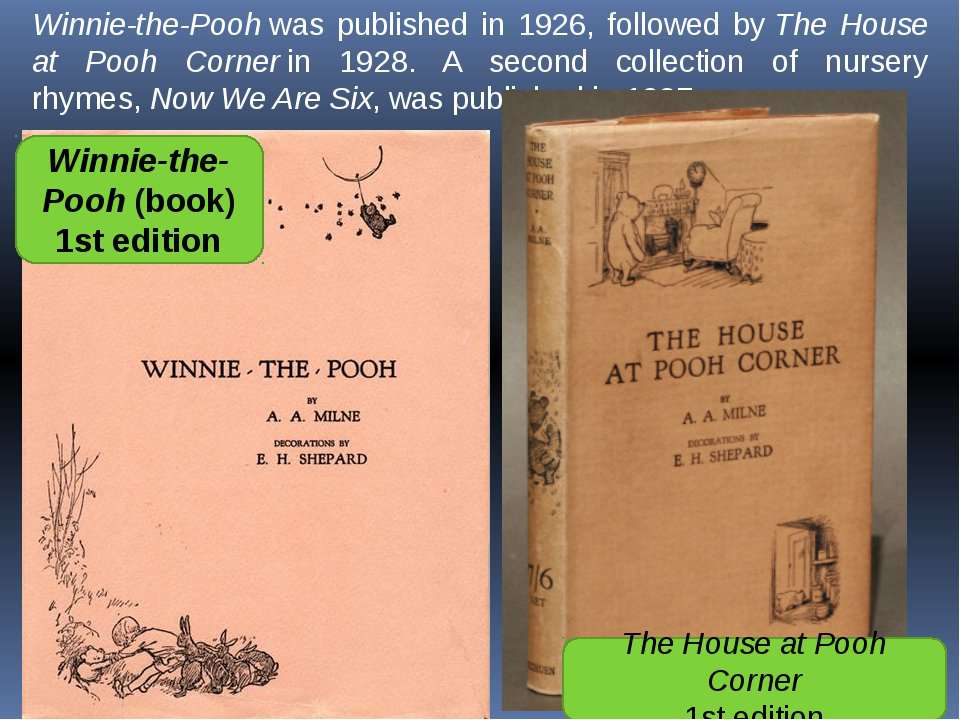 Winnie-the-Pooh was published in 1926, followed by The House at Pooh Corner i...