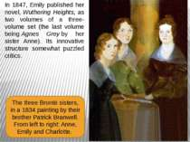In 1847, Emily published her novel,Wuthering Heights, as two volumes of a th...