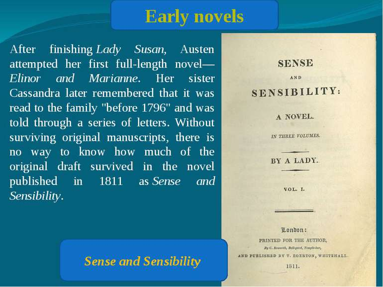 Early novels After finishing Lady Susan, Austen attempted her first full-leng...