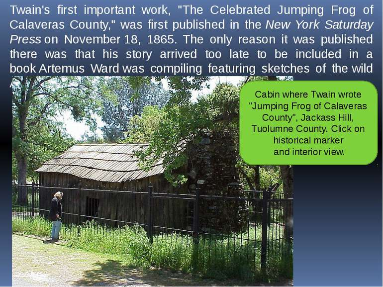 """Twain's first important work, """"The Celebrated Jumping Frog of Calaveras Count..."""