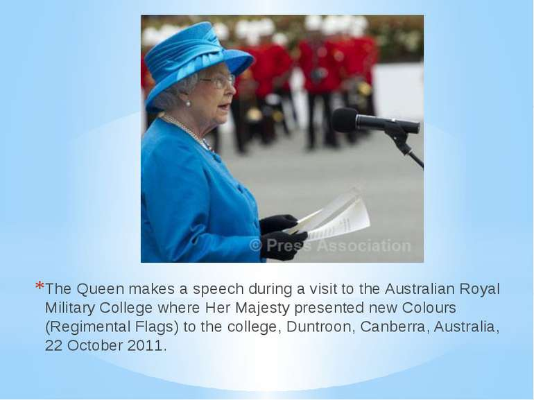 The Queen makes a speech during a visit to the Australian Royal Military Coll...