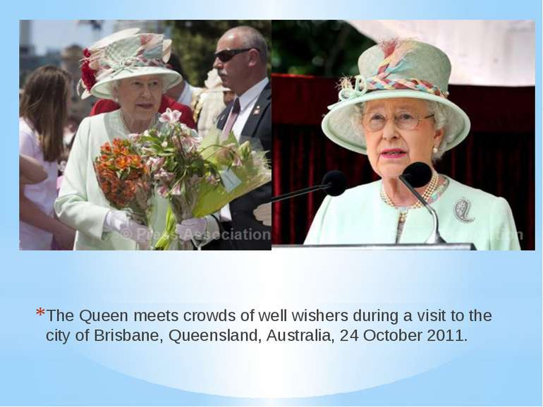 The Queen meets crowds of well wishers during a visit to the city of Brisbane...