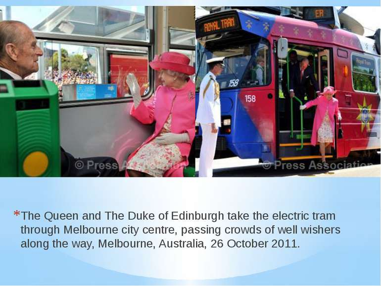 The Queen and The Duke of Edinburgh take the electric tram through Melbourne ...